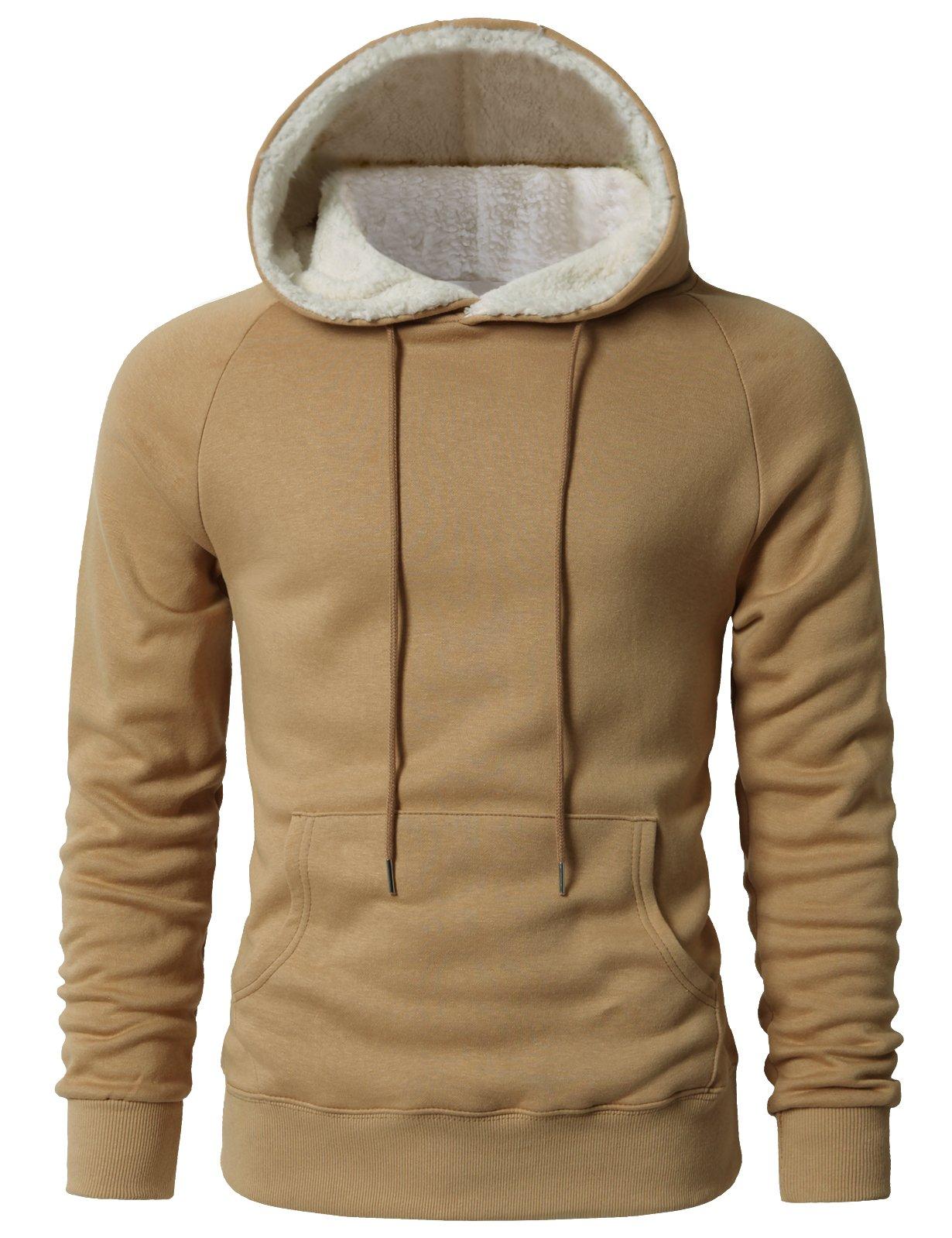 H2H Men's Fine Quality Plush Fleece Lined Pullover Beige US L/Asia XL (KMOHOL0126) by H2H (Image #2)
