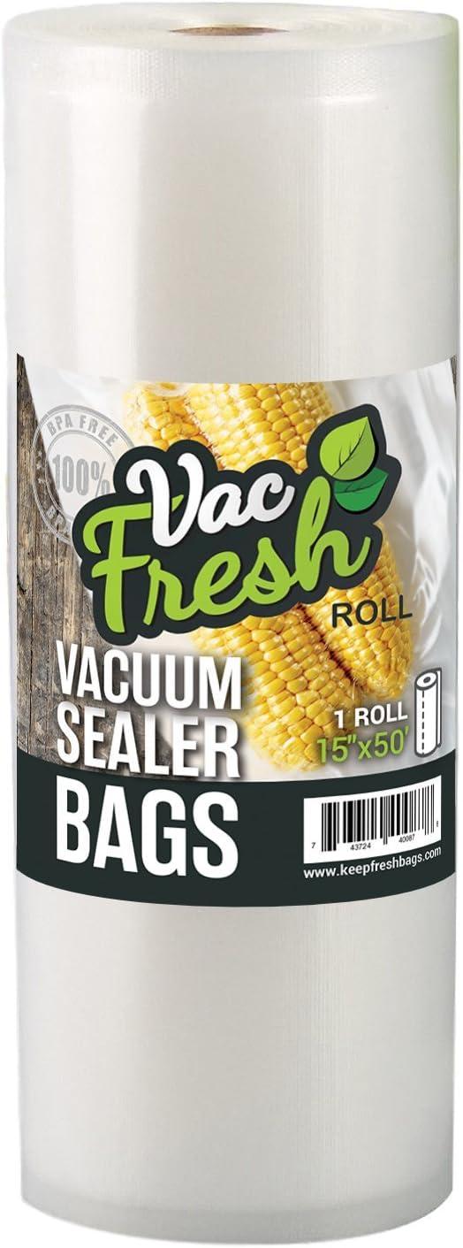 "Vac Fresh Roll 15"" x 50' Vacuum Seal Bags 3.5mil VF1550 for Vacuum Sealers, 1 Roll"