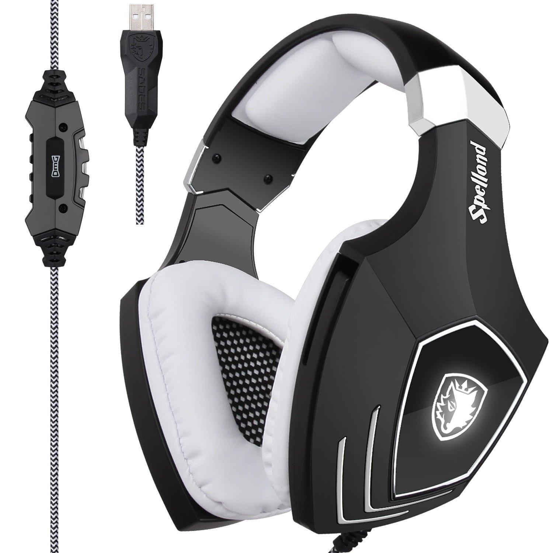 [2018reciénactualizadoUSBGamingHeadset]Sades A60/OMG ordenador sobre oreja auriculares estéreo con micrófono para...