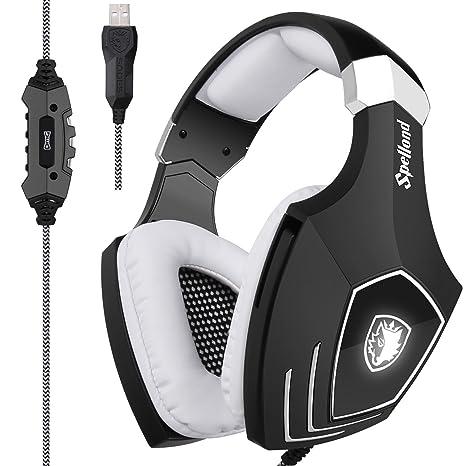 [2018 recién actualizado USB Gaming Headset] Sades A60/OMG ordenador sobre oreja auriculares