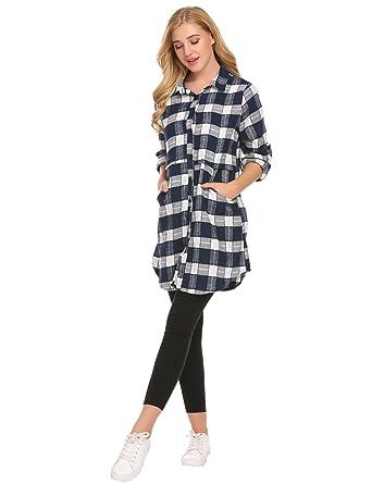 60f59a04cdb Donkap Women's Check Plaid Long Sleeve Tunics Casual Button Down Shirt  Dress Asymmetric Hem Blouse Tee