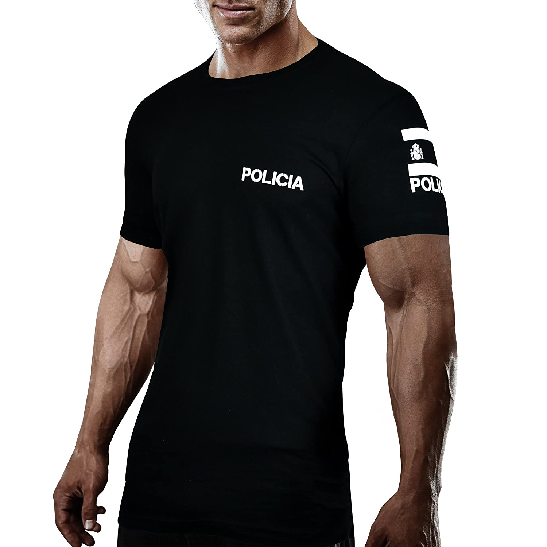 Aircops Camiseta Policia Manga Corta Hombre (L, Azul Royal): Amazon.es: Ropa y accesorios