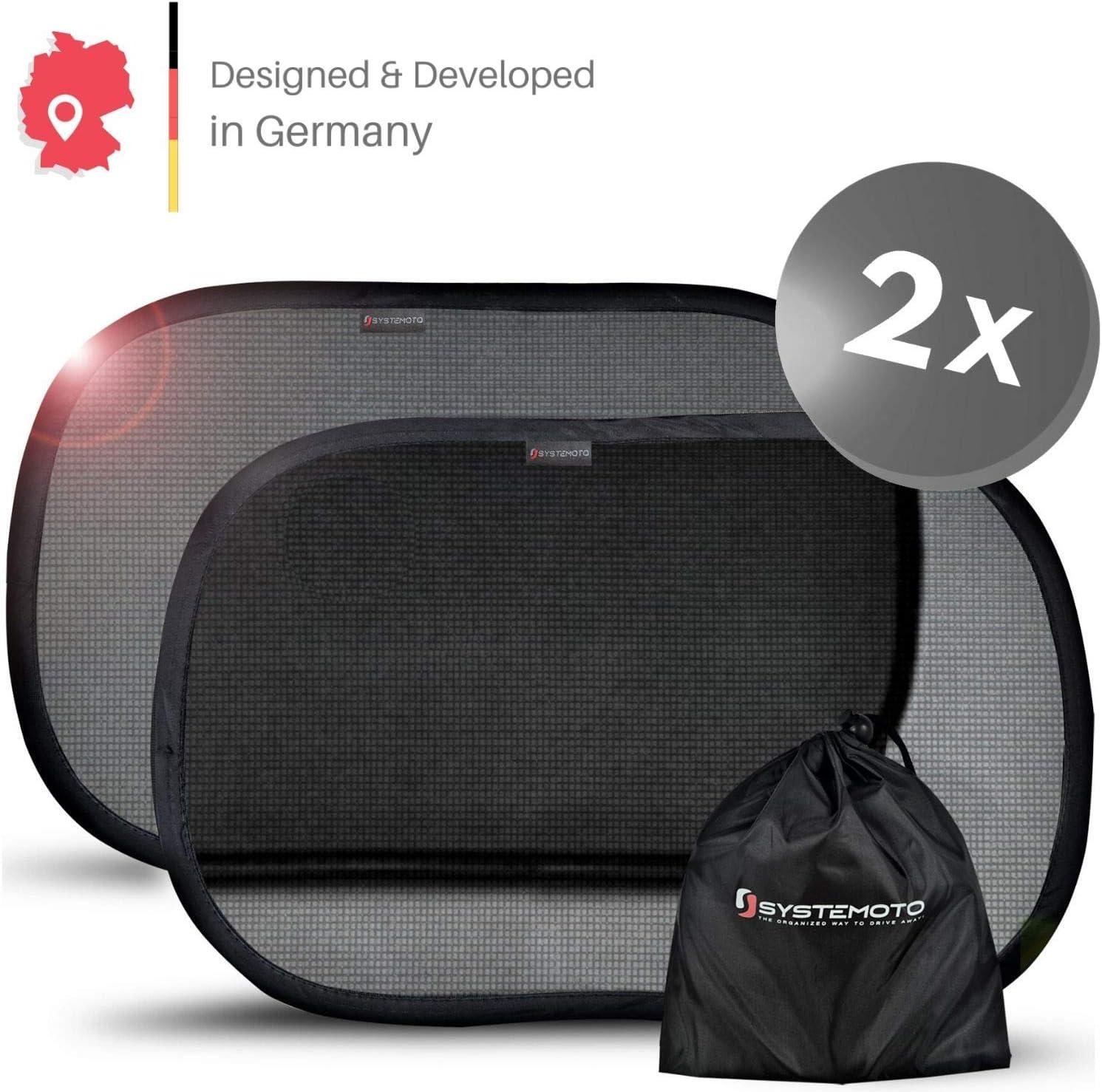 Systemoto Selbsthaftender Sonnenschutz Auto f/ür Baby mit Zertifiziertem UV Schutz 2er Set Schwarz