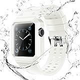 Compatible With Apple Watch バンド,ケース付きの一体式 アップルウォッチバン watch series 3 series 2 series1 に対応 防水性と耐汗性のあるストラップ (42MM, ホワイト)