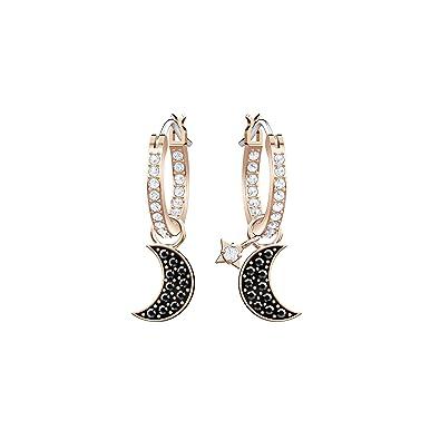 fa44e5882 Swarovski Duo Moon Hoop Pierced Earrings, Black, Rose gold plating:  Amazon.co.uk: Jewellery