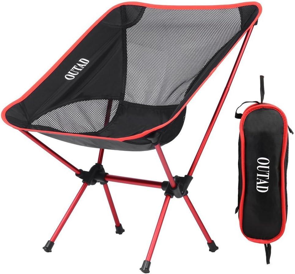 Silla de camping Niceao plegable y portátil para usar al aire libre, para disfrutar de la luna o de la playa, con bolsa para llevar mientras haces senderismo, viajes, caza o pesca
