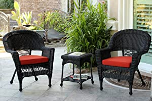 Jeco 3 Piece Wicker Chair and End Table Set with Red Orange Cushion, Black