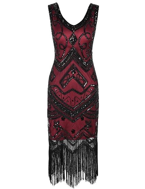 Kayamiya Mujeres Vestidos de Flapper 1920 Cuello en V Inspirado Lentejuelas Franja Vestido de Gatsby S