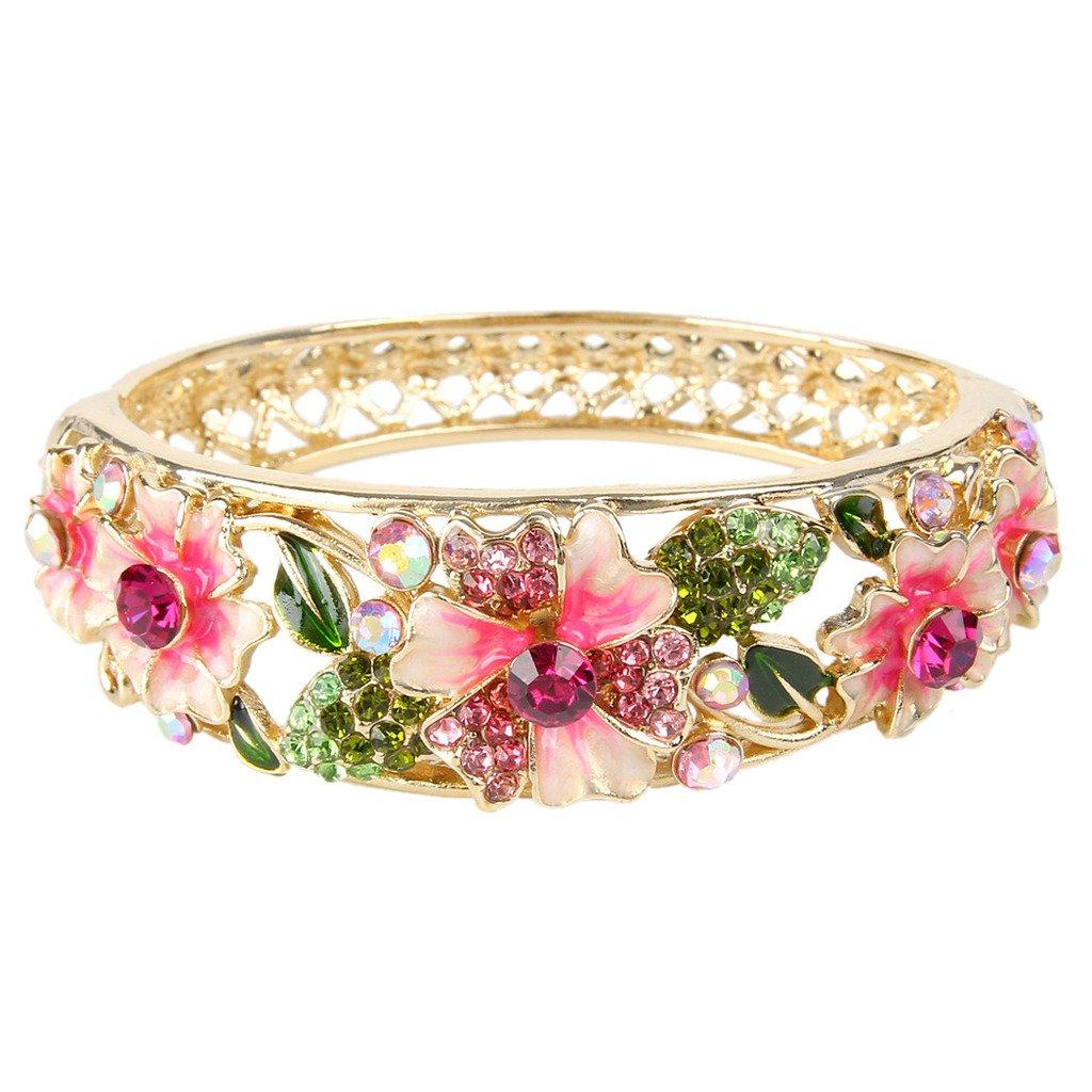 EleQueen Women's Gold-tone Austrian Crystal Enamel Flower Leaf Bangle Bracelet 16000064ca