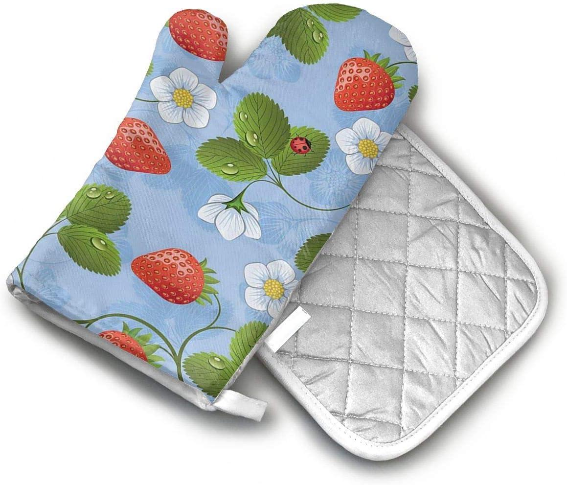 AISDHAJKSD Strawberries Daisies and Ladybugs Premium Terylene/Nylon Oven Mitts and Pot Mat,Pot Mat/Hot Pads, Heat Resistant Gloves BBQ Kitchen