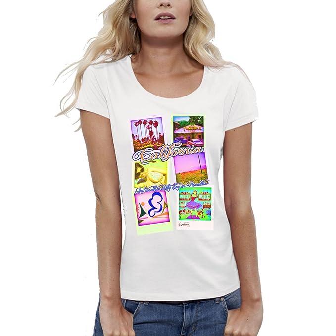 254524238b Bio-Camiseta de manga corta, diseño estampado, color  blanco-mujer-California polaroids del XS a XL: Amazon.es: Ropa y accesorios