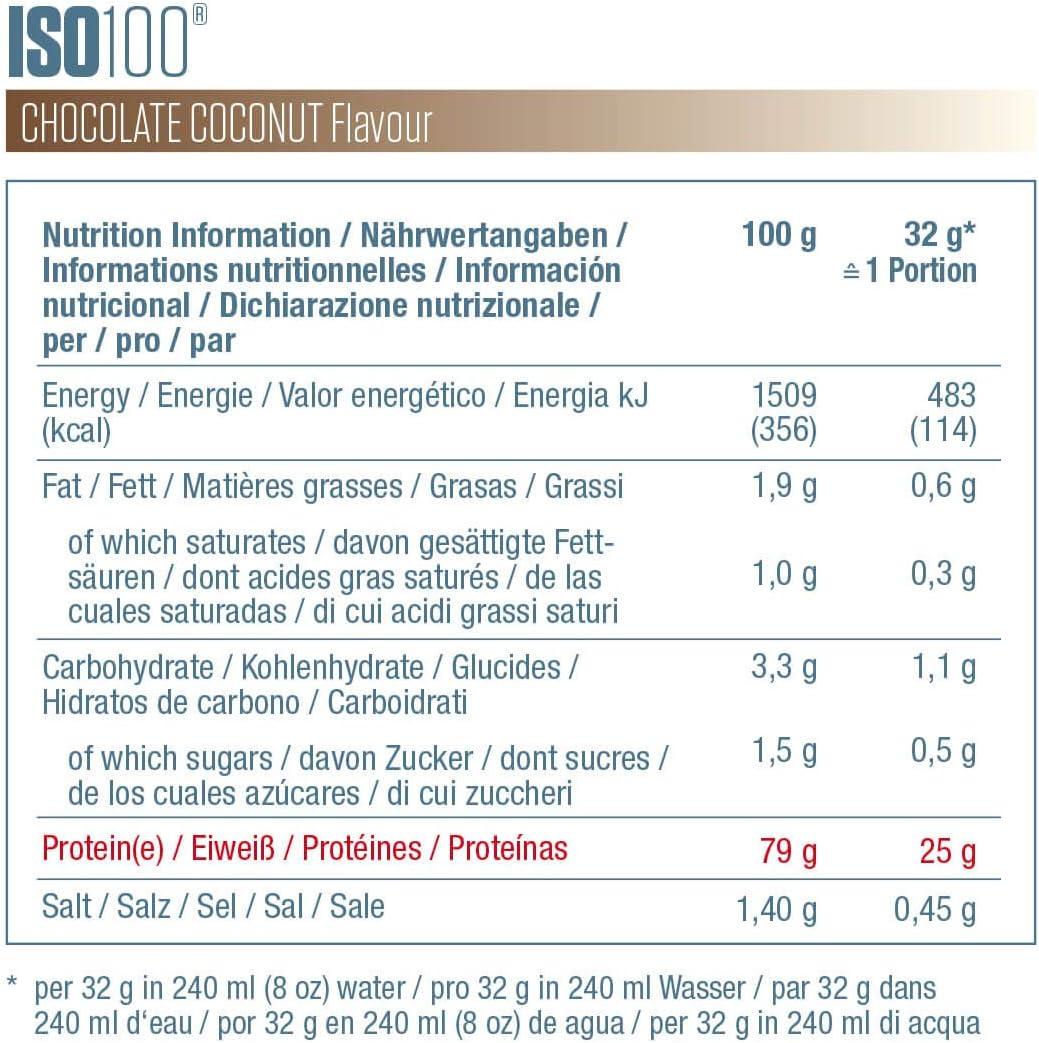 Dymatize ISO 100 Chocolate Coconut 900g - Hidrolizado de Proteína de Suero Whey + Aislado en Polvo