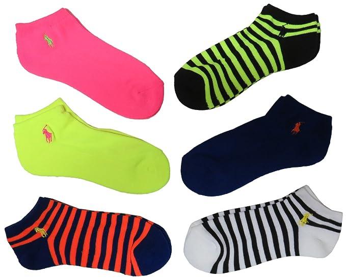 Ralph Lauren mujer calcetines neón, multicolor (Pack de 6)