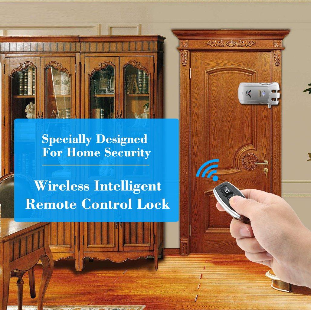WAFU Cerradura Inal/ámbrica Invisible Cerradura de Puerta sin Llave Cerradura Inteligente de Control Remoto para Hogar con 4 Llaves Remotas