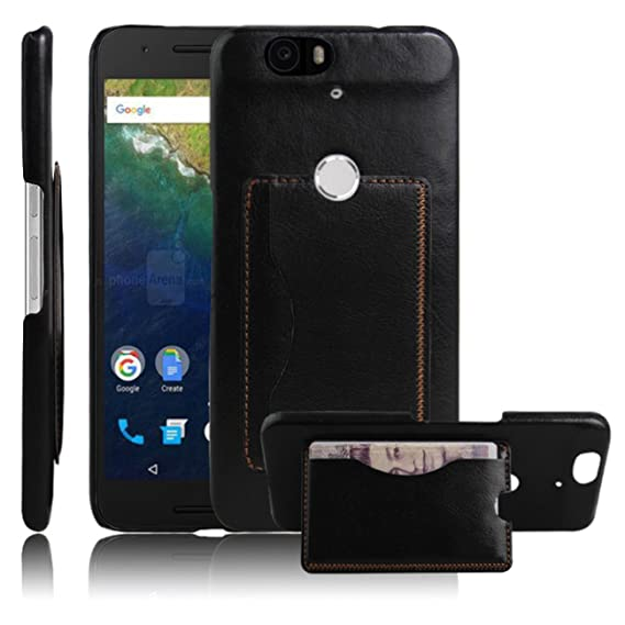 factory authentic d7dba 1fbd5 Nexus 6P Case, Premium Leather Wallet Flip Case Cover with Stand Card  Holder for Huawei Google Nexus 6P / 6 2nd Gen 2015 Phone (Bracket - Black)