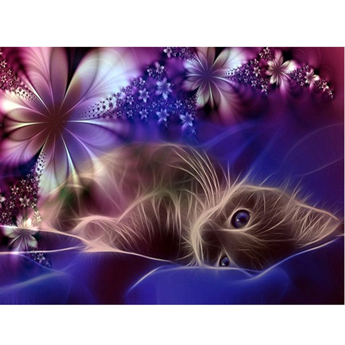 5D DIY Diamond Painting Kit Full Drill for Adults Crystal Rhinestone Embroidery Cross Stitch Arts Craft Canvas Wall Decor Moon Cat