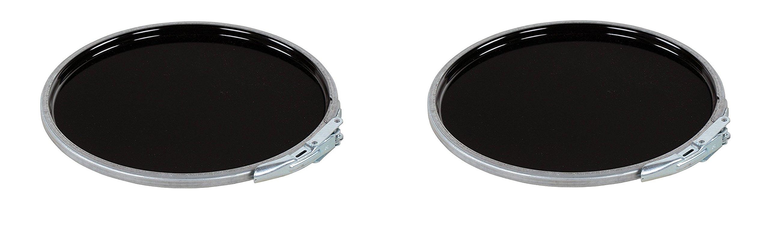 Vestil LID-STL-LL Steel Lever Lock Pail Lid, for 5 Gallon, Black (Pack of 2)