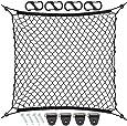 9 MOON Organisateur Coffre Voiture en Maille avec 4 crochets - Organisateur Filet élastique voiture pour Courses Jouets pour Enfants Animaux Bagages - Accessoire de voiture Universel