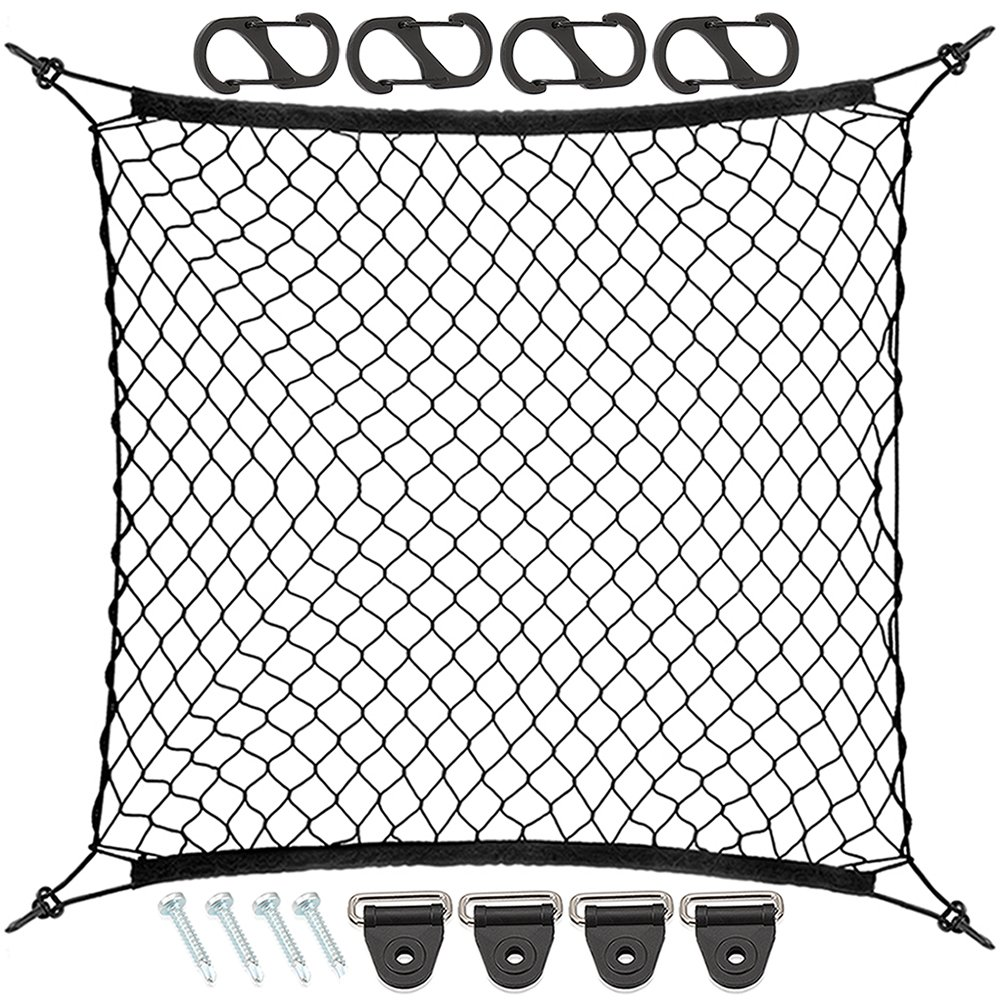 9 MOON 4 Hooks Car Trunk Cargo Net Mesh Storage Organizer - Car Net for Kids Luggage - Universal Car Accessories Net CODWD70708