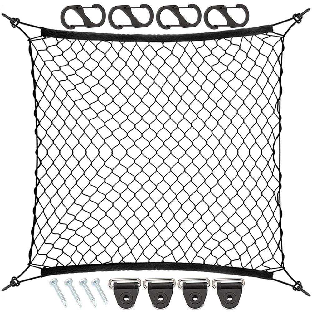 9 MOON Organisateur Coffre Voiture en Maille avec 4 crochets - Organisateur Filet é lastique voiture pour Courses Jouets pour Enfants Animaux Bagages - Accessoire de voiture Universel CODWD70708