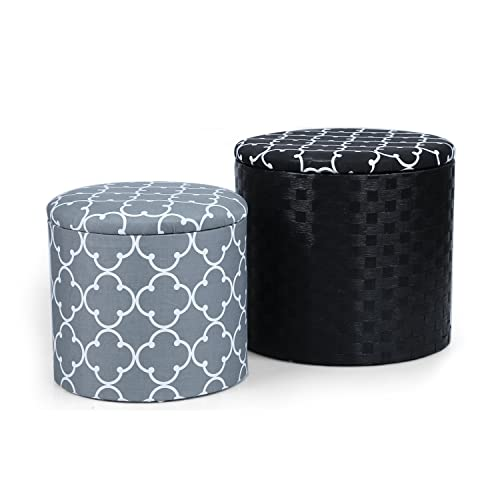 Adeco Grey Black Cross Fabric Round Storage Ottoman, Two Pieces