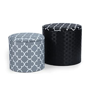 Swell Adeco Grey Black Cross Fabric Round Storage Ottoman Two Pieces Grey Black Caraccident5 Cool Chair Designs And Ideas Caraccident5Info