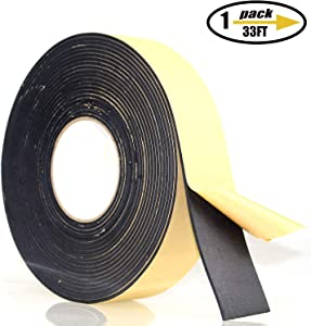"""Foam Insulation Tape Adhesive, Seal, Doors, Weatherstrip, Waterproof, Plumbing, HVAC, Windows, Pipes, Cooling, Air Conditioning, Weather Stripping, Craft Tape (33 Ft- 1/8"""" x 2"""")"""