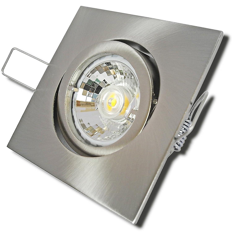 7 Stück MCOB LED Einbauspot Luisa 230 Volt 3 Watt Schwenkbar Edelstahl geb.   Warmweiß