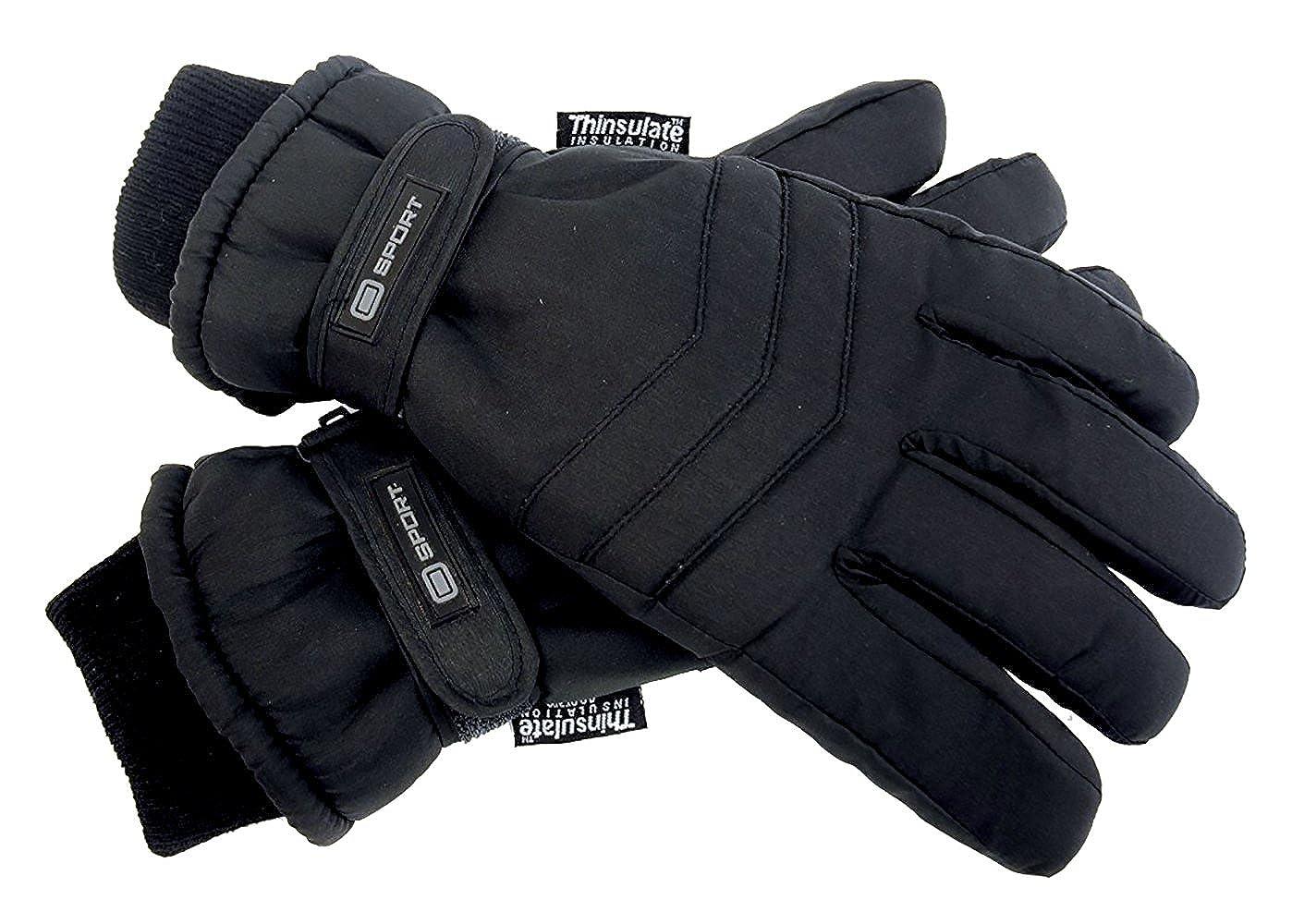 Thinsulate Herren 3M Schwarz Thermo Leicht Wasserdicht Extra Warm Outdoor Skihandschuhe mit Handschlaufe für Winter