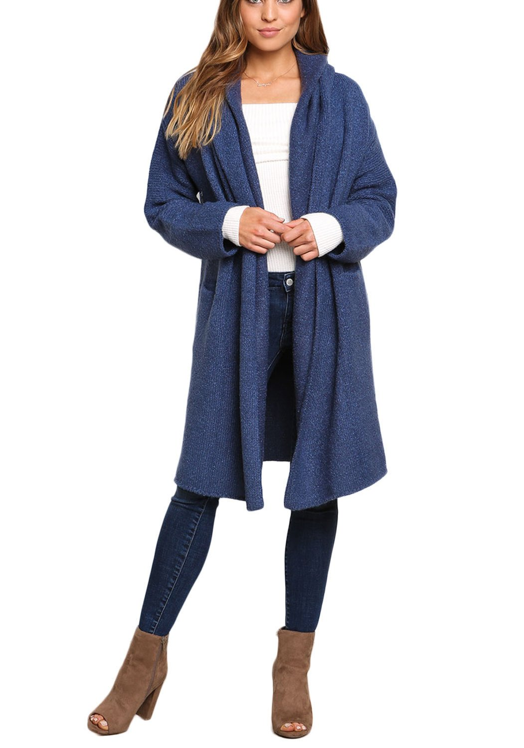 Dark Blue Longlined Thick Knit Cardigan-Dark Blue-One Size