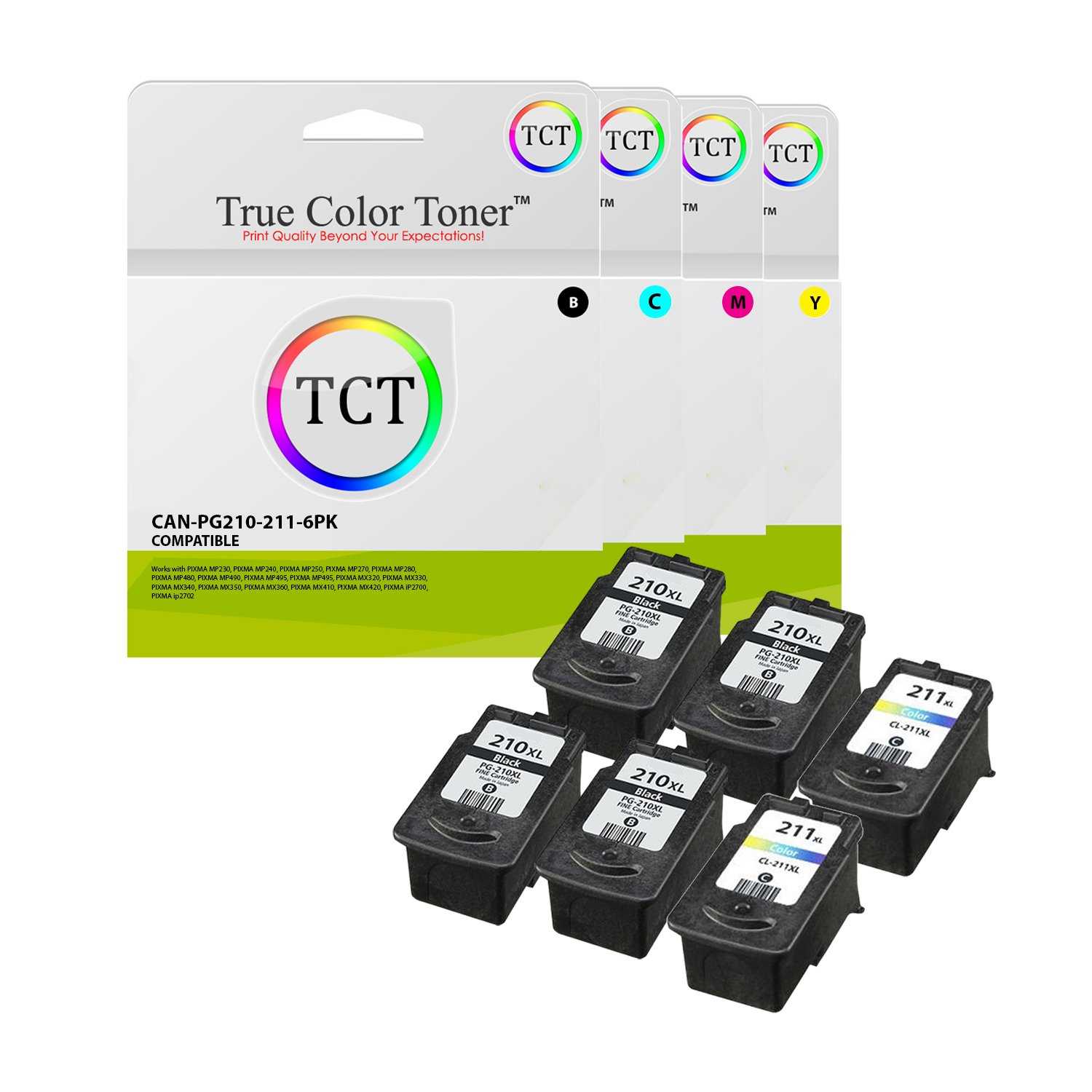 True Color Toner PG-210 CL-211 6 Pack Combo High Yield Compatible Ink Replacement for Canon Pixma MP240 MP250 MP270 MP280 MP480 MP490 MP495 MX320 MX330 MX340 MX410 MX420 iP2700 iP2702 PP-201 Printers
