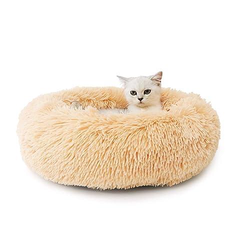 Cama para Mascotas Antideslizante de Felpa Redondo Suave para Mascotas Cojín para Mascotas Cama para Dormir para Cachorros de Gatos