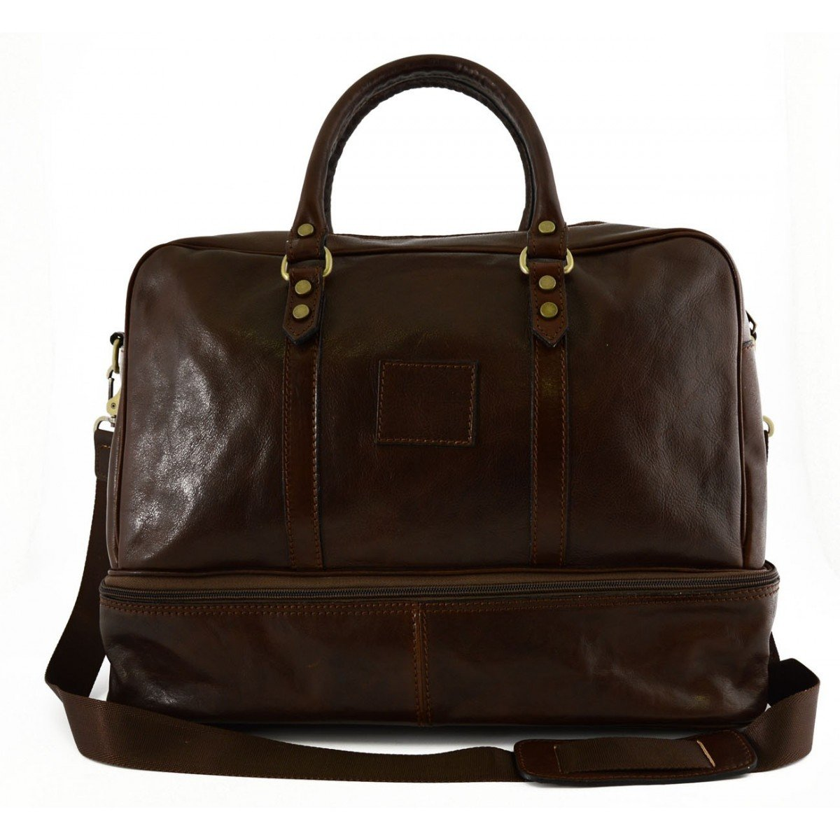 Made In Italy Leather Travel Bag Color Brown - Travel Bag B014T6HRYC