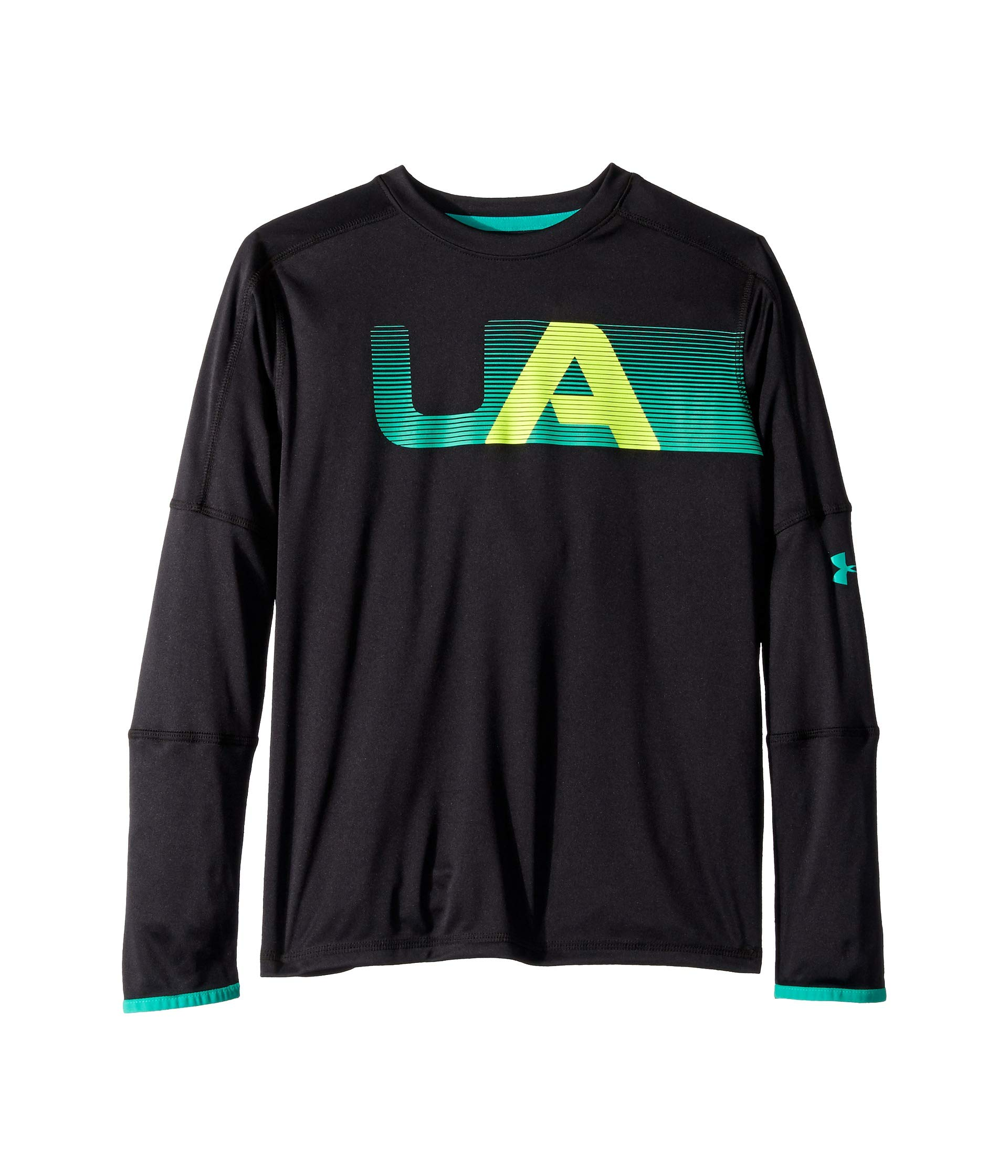 Under Armour Kids Boy's Tech Long Sleeve Tee (Big Kids) Black/Green Malachite Large by Under Armour