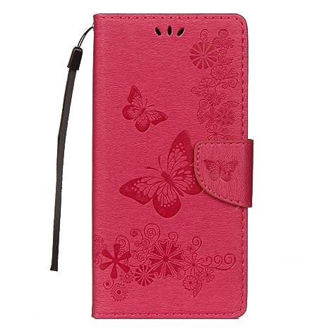 Funluna Funda Samsung Galaxy Note 9, Flor y Mariposa Patrón Carcasa Cartera Flip de Piel PU Libro Billetera con Función de Soporte y Ranuras de ...
