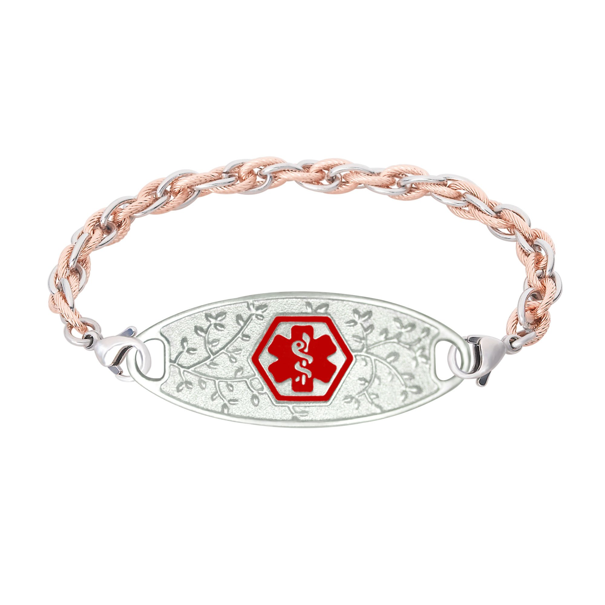 Divoti Custom Engraved 316L Beautiful Olive Medical Alert Bracelet for Women w/Stainless Inter-Mesh Rose Gold/Silver Chain -Red-8.0''