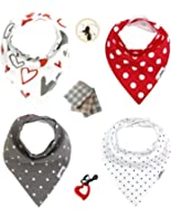 Baby Shower Gift Bandana Bib and Burp Cloth w FREE Red Heart Shaped Silicone Teething Necklace