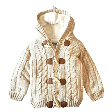 4aa9c5d6e7e4 Amazon.com  Sameno Toddler Baby Boy Girl Warm Knitted Hooded Jacket ...