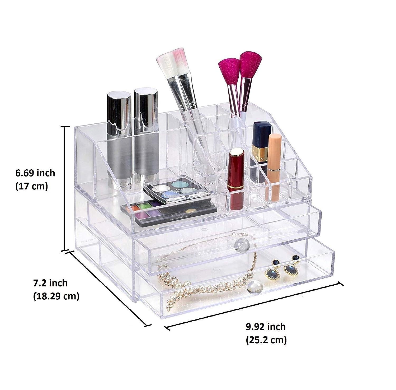 Decozen Acrylic Makeup Organizer Storage with Lipstick Holder 20 Slot for Jewelry Organizer Makeup Brush Holder Nail Polish Mascara Eyeshadow Lipstick ...