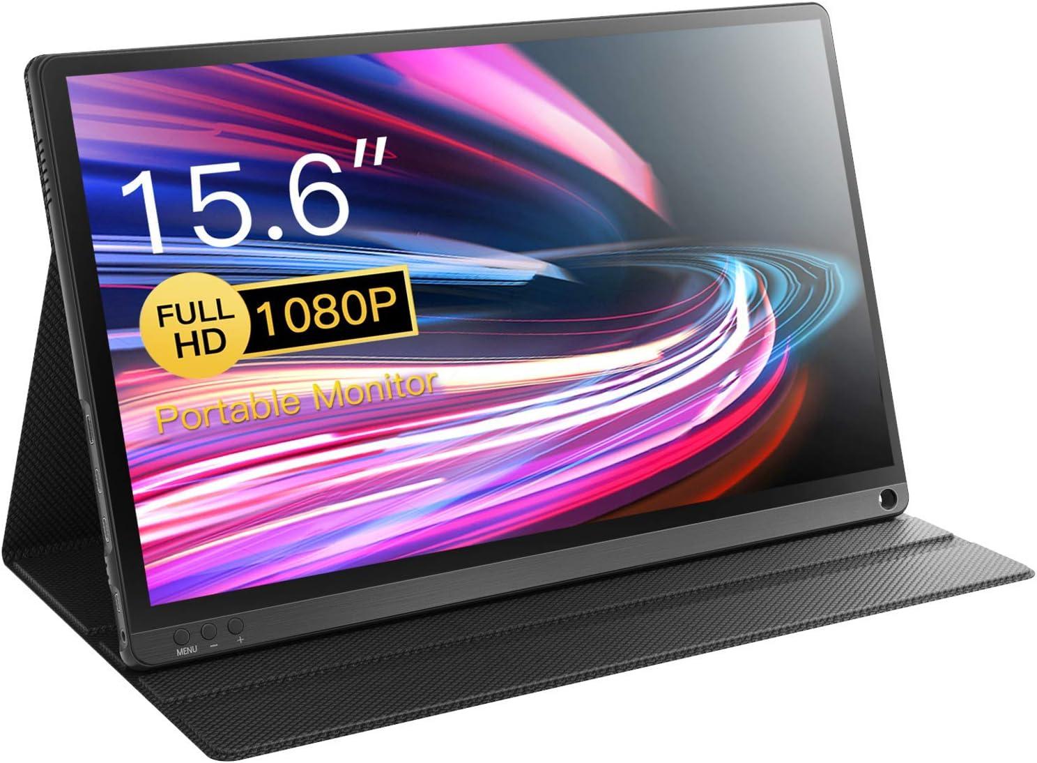 Corprit Monitor Portátil 15.6 pulgadas Full HD 1080P USB C Monitor con Tipo-C /Mini HDMI/altavoces/IPS pantalla portátil para ordenador portátil, Mac, PC, teléfono Xbox PS4, funda inteligente incluida