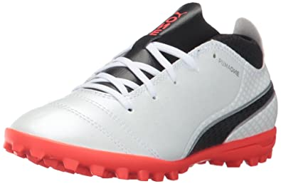 76391d1b9 PUMA Unisex ONE 17.4 TT Jr Soccer Shoe, White Black-Fiery Coral, 1