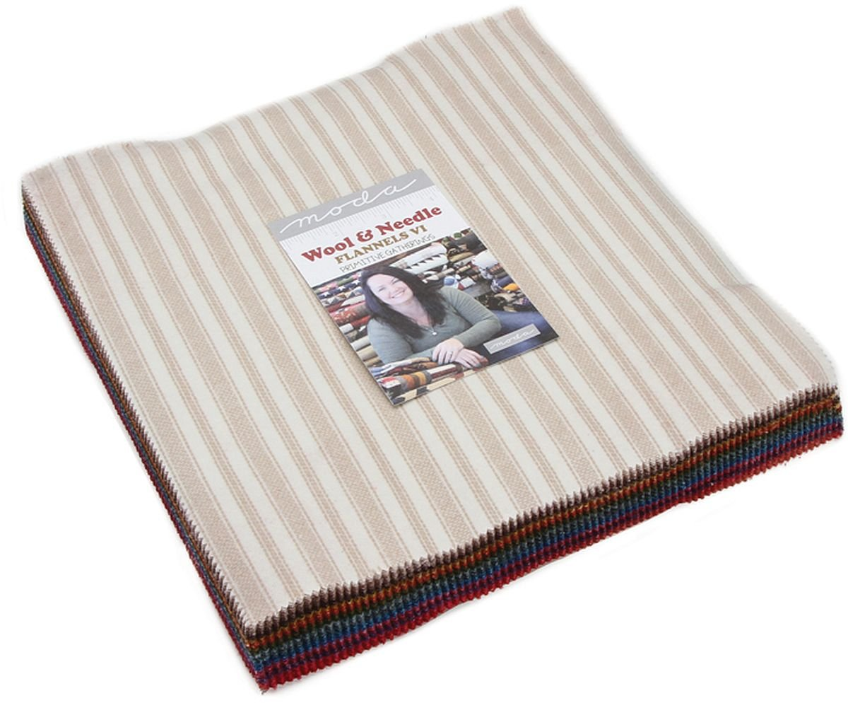 Wool & Needle VI Flannels Layer Cake, 42-10 inch Precut Fabric Quilt Squares by Primitive Gatherings