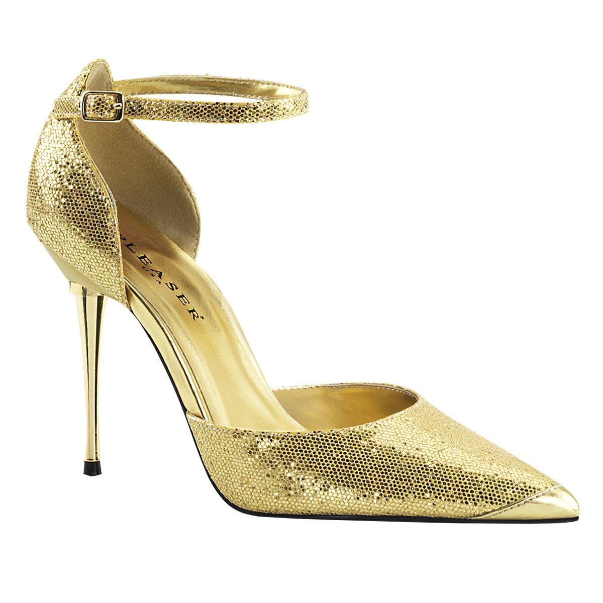PleaserUSA Spitze Damen Stiletto Pumps mit Fesselriemchen Appeal-21 Gold Woven