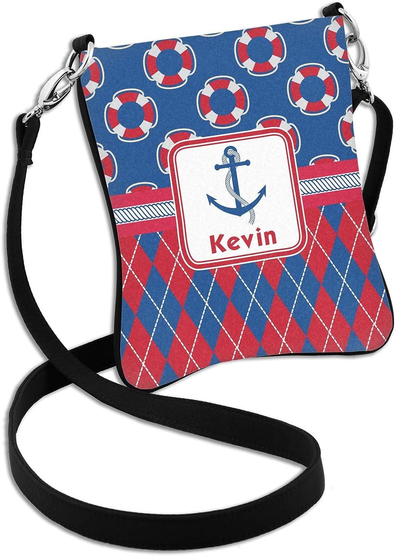2 Sizes Buoy /& Argyle Print Cross Body Bag Personalized