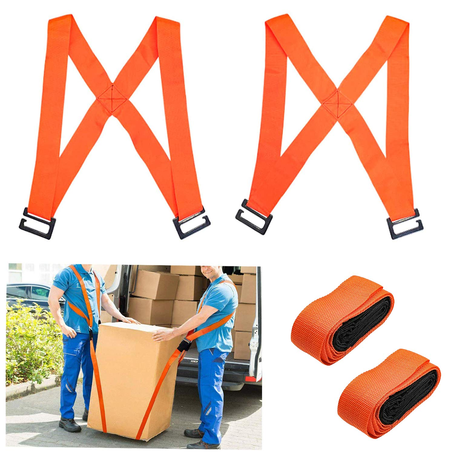 Lifting and Moving Straps,Material Handling Straps,High Density Multifunctional Adjustable Moving Belts Up to 800lbs for Carrying Goods, Furniture, Appliances - Orange