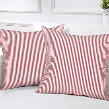 cinsey Striped Throw Pillow Covers Woven Decorative Modern Square Farmhouse Pillowcases for Couch Bed Sofa Car,Set of 2, 18 x 18 inches(45x45cm), Red White Striped