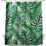 Piante tropicali foglie di banano bagno tende, impermeabile e antimuffa, con 12 ganci per tenda da doccia