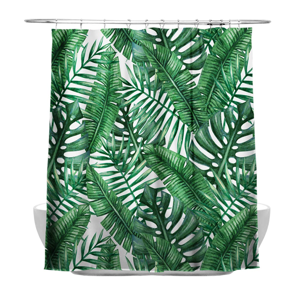 Blue Green Broadleaf Palm leaves Shower Curtain, High-quality Polyester Fabric Waterproof, With 12 Bathroom Curtain Rings Colour Kingdom