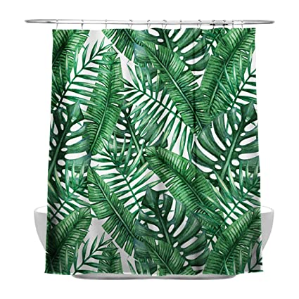 Tropical Plants Banana Leaves Bathroom Curtains 100 Waterproof And Mildew With 12 Shower Curtain Hooks Amazoncouk Kitchen Home