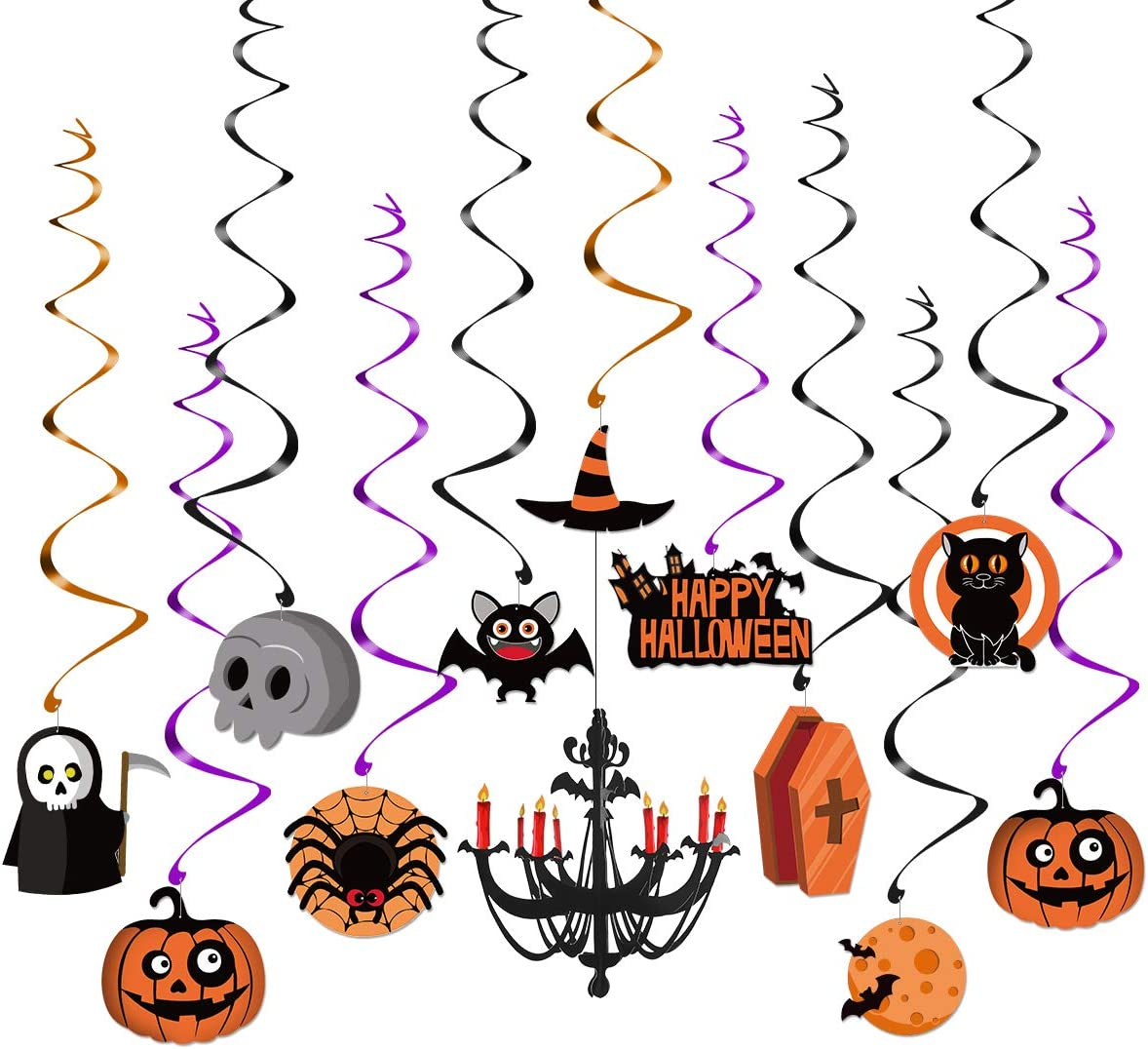 Unomor Halloween Decorations Indoor Hanging Swirls for Haunted House Decor Ceiling Swirl Decoration Included Bats  Spider  Ghost  Pumpkin  3D Chandelier  30 Piece